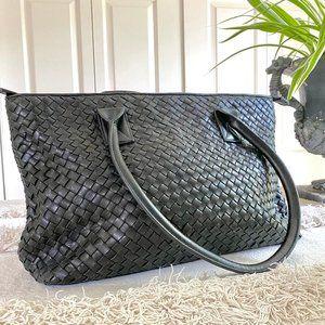 Fina Firenze Black Woven Leather Bag